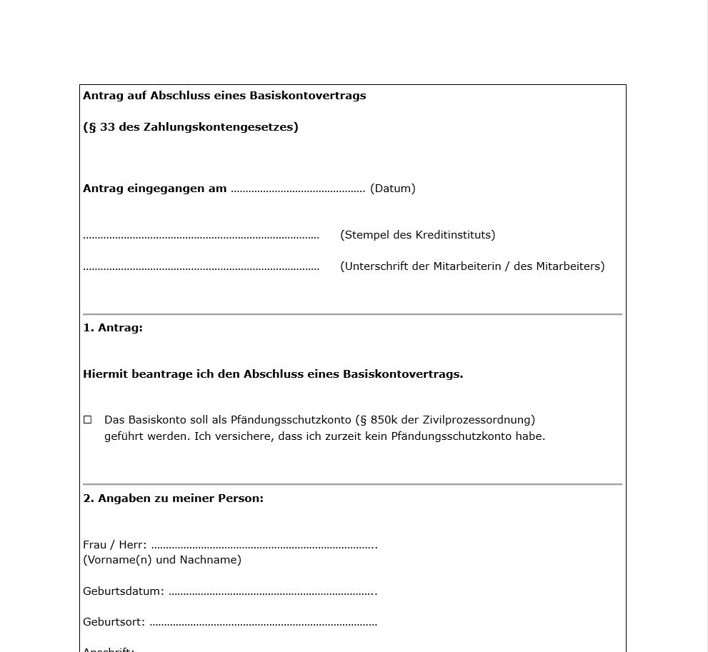 Basiskonto Antragsformular