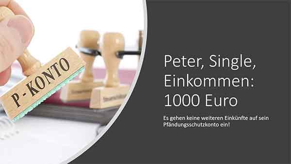 Peter, Single, 1000 Euro Nettoeinkommen